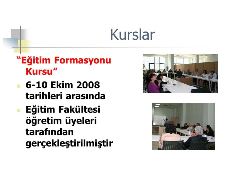 Kurslar Eğitim Formasyonu Kursu 6-10 Ekim 2008 tarihleri arasında