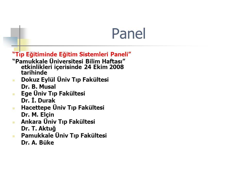 Panel Tıp Eğitiminde Eğitim Sistemleri Paneli