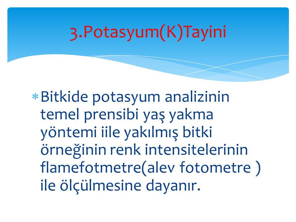 3.Potasyum(K)Tayini