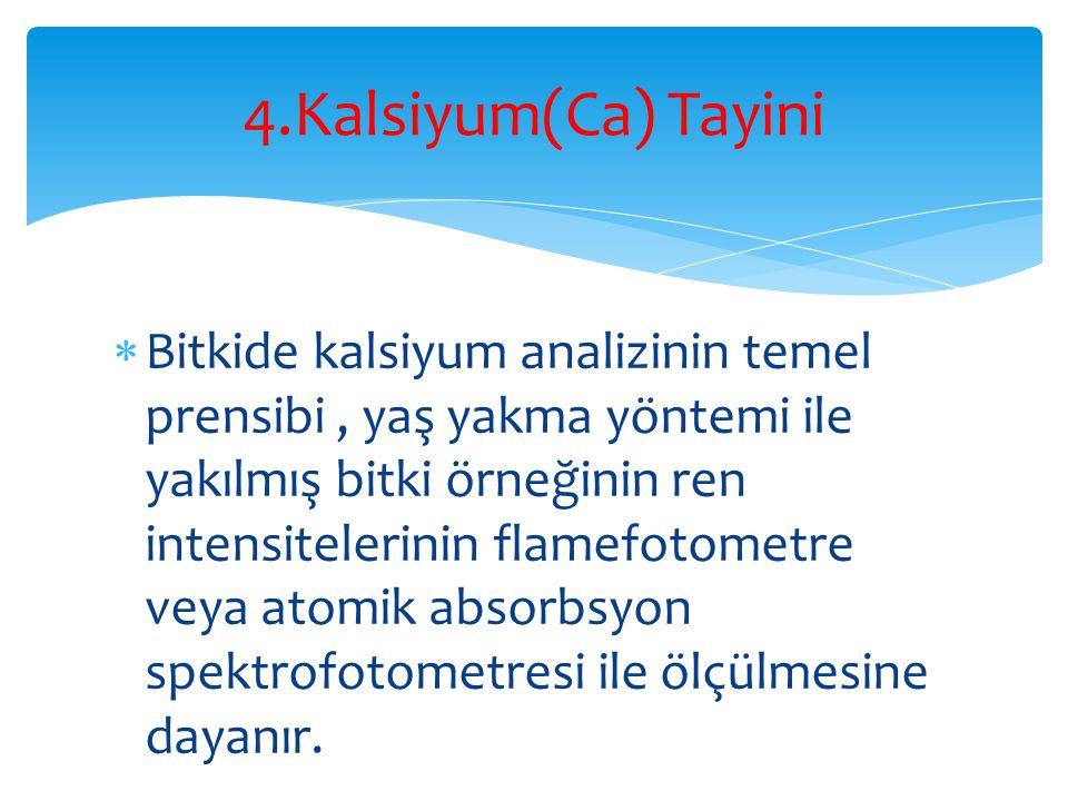 4.Kalsiyum(Ca) Tayini