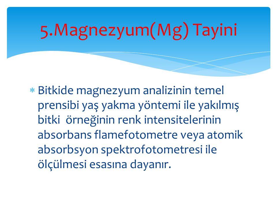 5.Magnezyum(Mg) Tayini