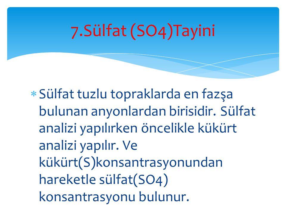 7.Sülfat (SO4)Tayini