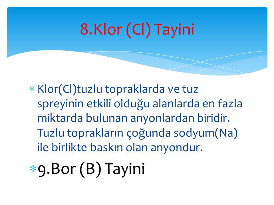 8.Klor (Cl) Tayini 9.Bor (B) Tayini