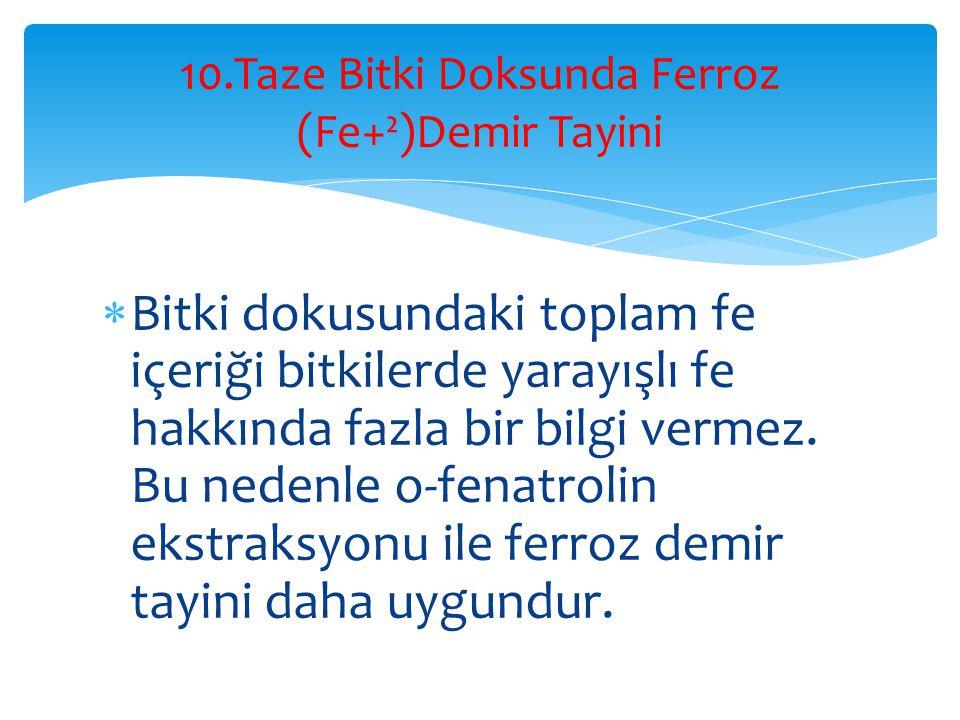 10.Taze Bitki Doksunda Ferroz (Fe+²)Demir Tayini