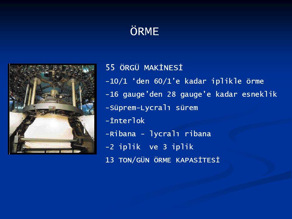 ÖRME 55 ÖRGÜ MAKİNESİ -10/1 'den 60/1'e kadar iplikle örme