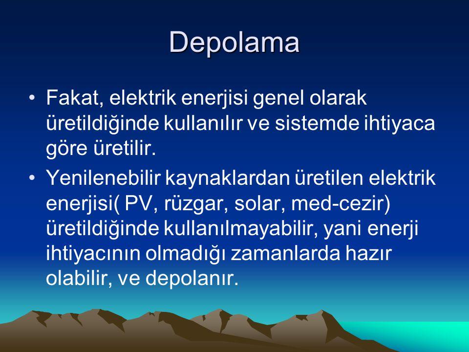 Depolama Fakat, elektrik enerjisi genel olarak üretildiğinde kullanılır ve sistemde ihtiyaca göre üretilir.