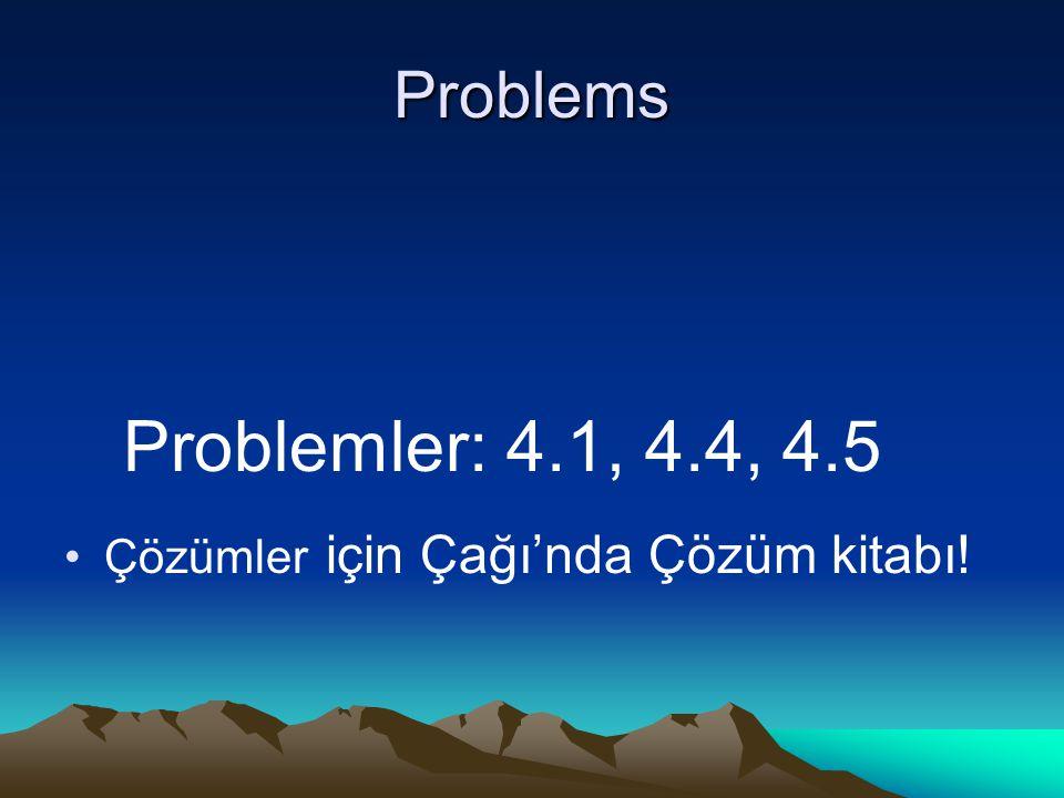 Problems Problemler: 4.1, 4.4, 4.5 Çözümler için Çağı'nda Çözüm kitabı!