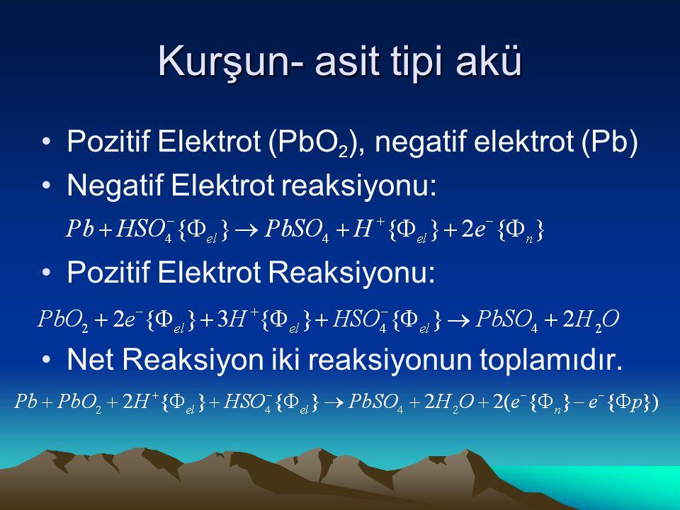 Kurşun- asit tipi akü Pozitif Elektrot (PbO2), negatif elektrot (Pb)