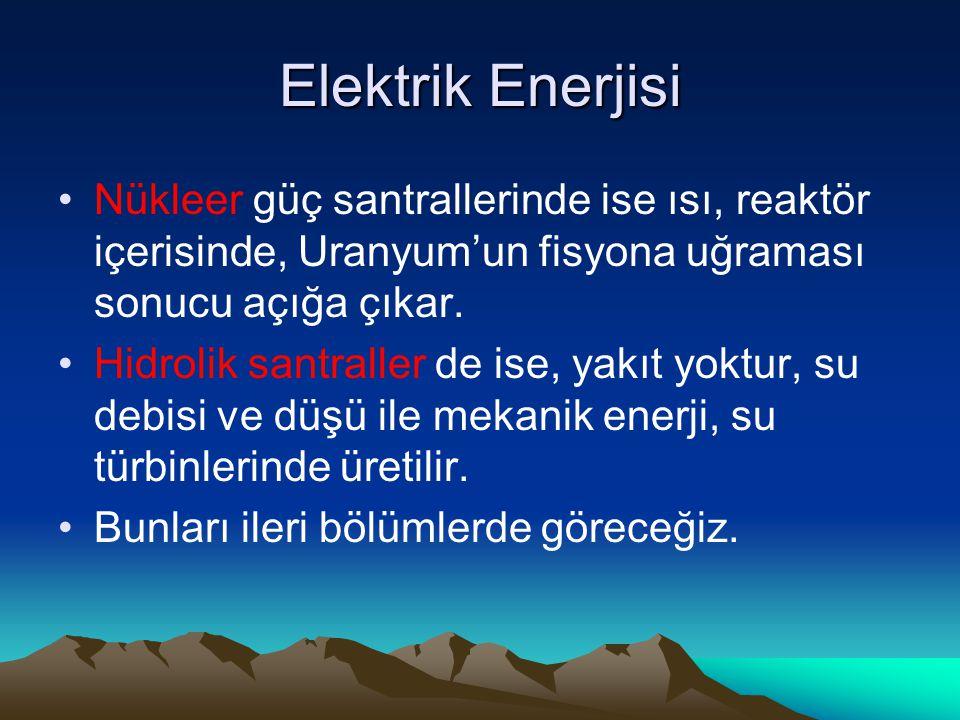 Elektrik Enerjisi Nükleer güç santrallerinde ise ısı, reaktör içerisinde, Uranyum'un fisyona uğraması sonucu açığa çıkar.