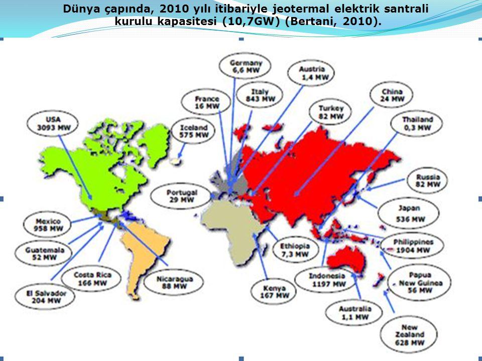 Dünya çapında, 2010 yılı itibariyle jeotermal elektrik santrali