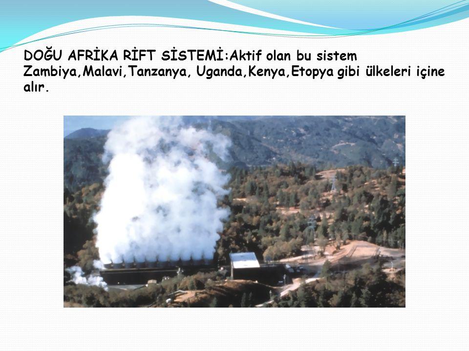 DOĞU AFRİKA RİFT SİSTEMİ:Aktif olan bu sistem Zambiya,Malavi,Tanzanya, Uganda,Kenya,Etopya gibi ülkeleri içine alır.