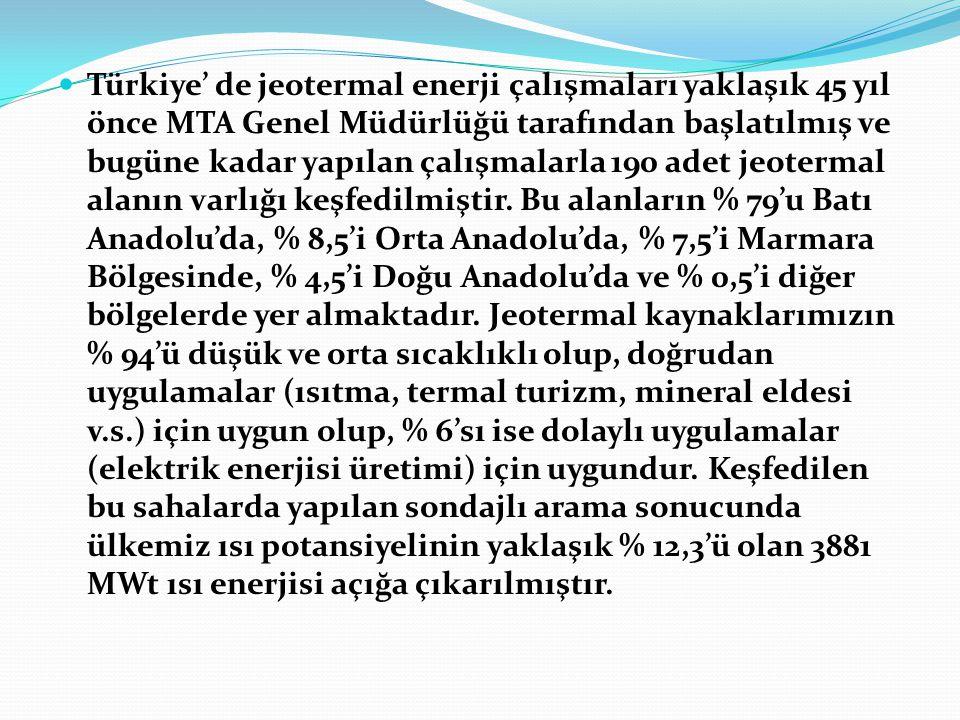 Türkiye' de jeotermal enerji çalışmaları yaklaşık 45 yıl önce MTA Genel Müdürlüğü tarafından başlatılmış ve bugüne kadar yapılan çalışmalarla 190 adet jeotermal alanın varlığı keşfedilmiştir.