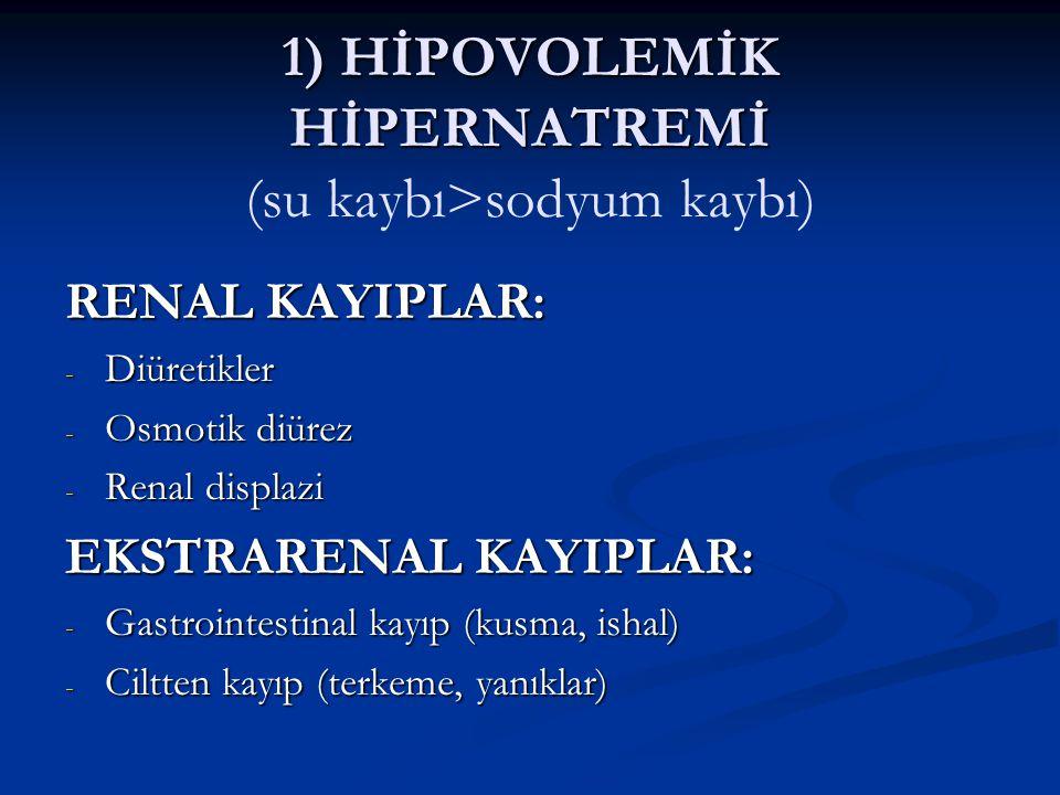 1) HİPOVOLEMİK HİPERNATREMİ (su kaybı>sodyum kaybı)