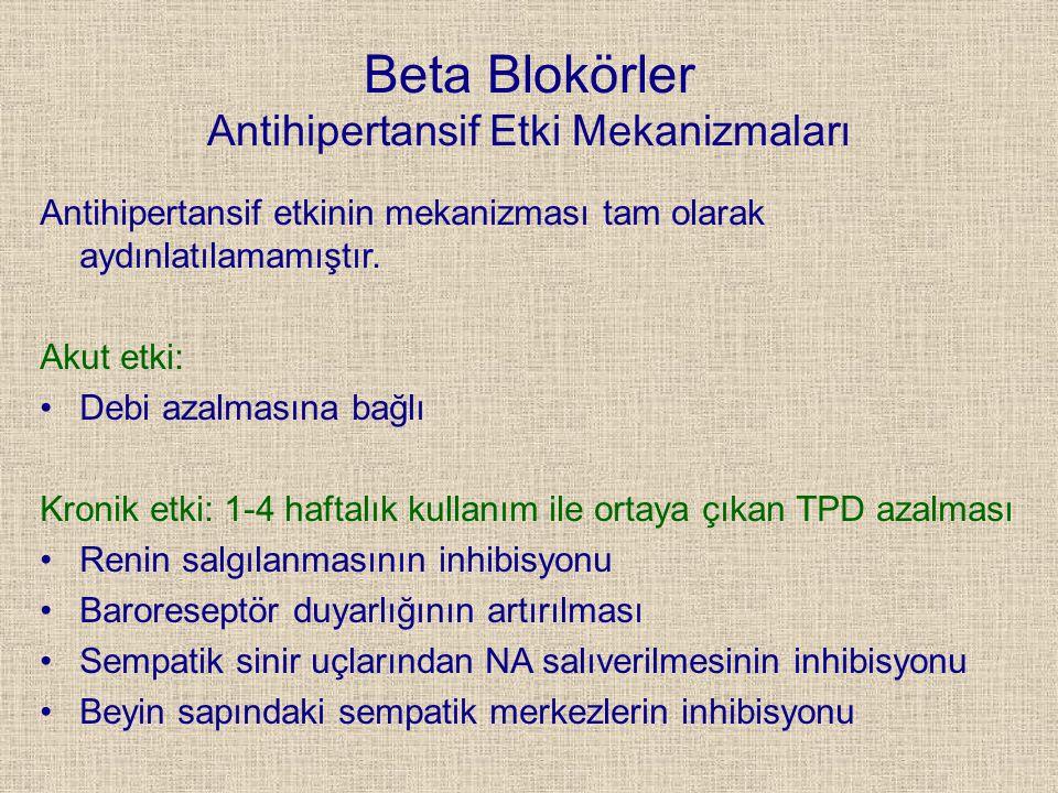 Beta Blokörler Antihipertansif Etki Mekanizmaları
