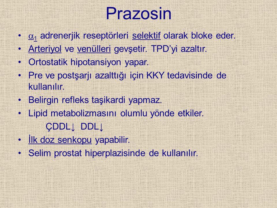 Prazosin a1 adrenerjik reseptörleri selektif olarak bloke eder.