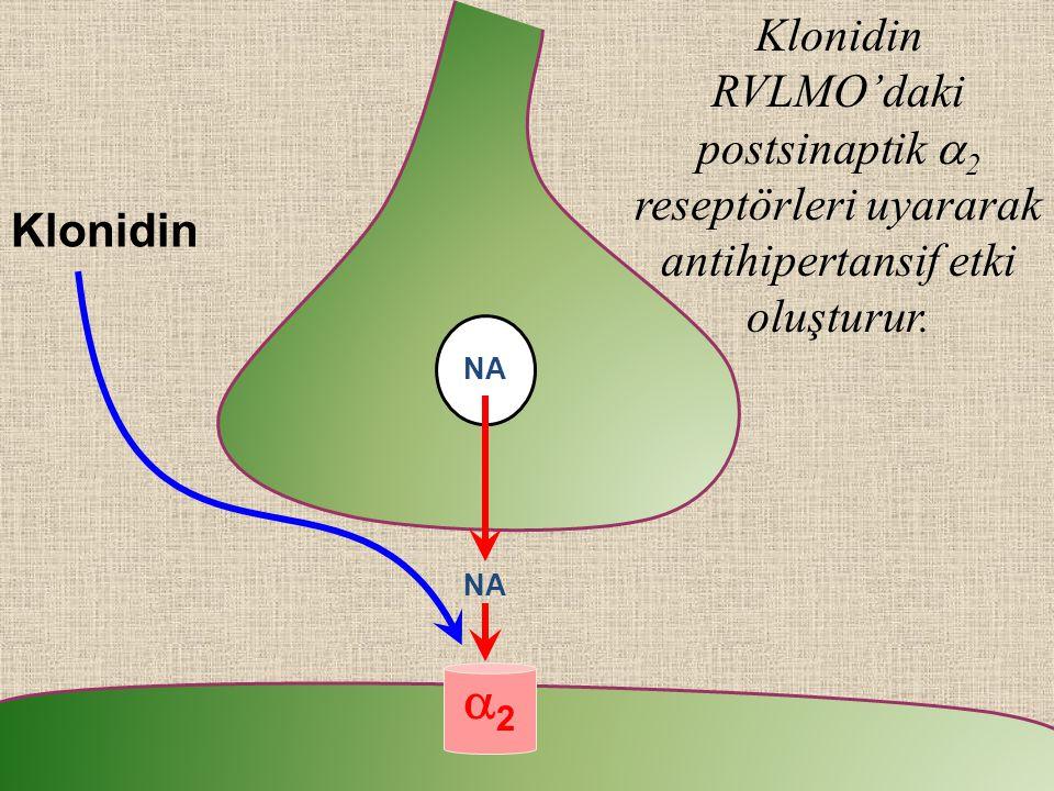 Klonidin RVLMO'daki postsinaptik a2 reseptörleri uyararak antihipertansif etki oluşturur.