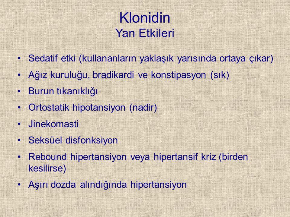 Klonidin Yan Etkileri Sedatif etki (kullananların yaklaşık yarısında ortaya çıkar) Ağız kuruluğu, bradikardi ve konstipasyon (sık)
