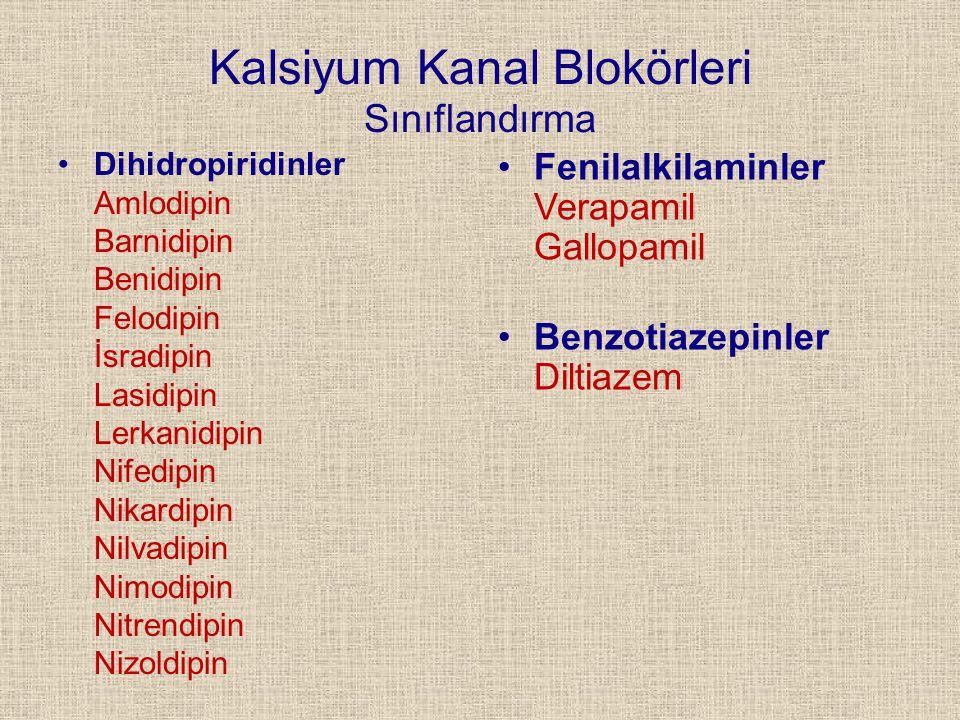 Kalsiyum Kanal Blokörleri Sınıflandırma