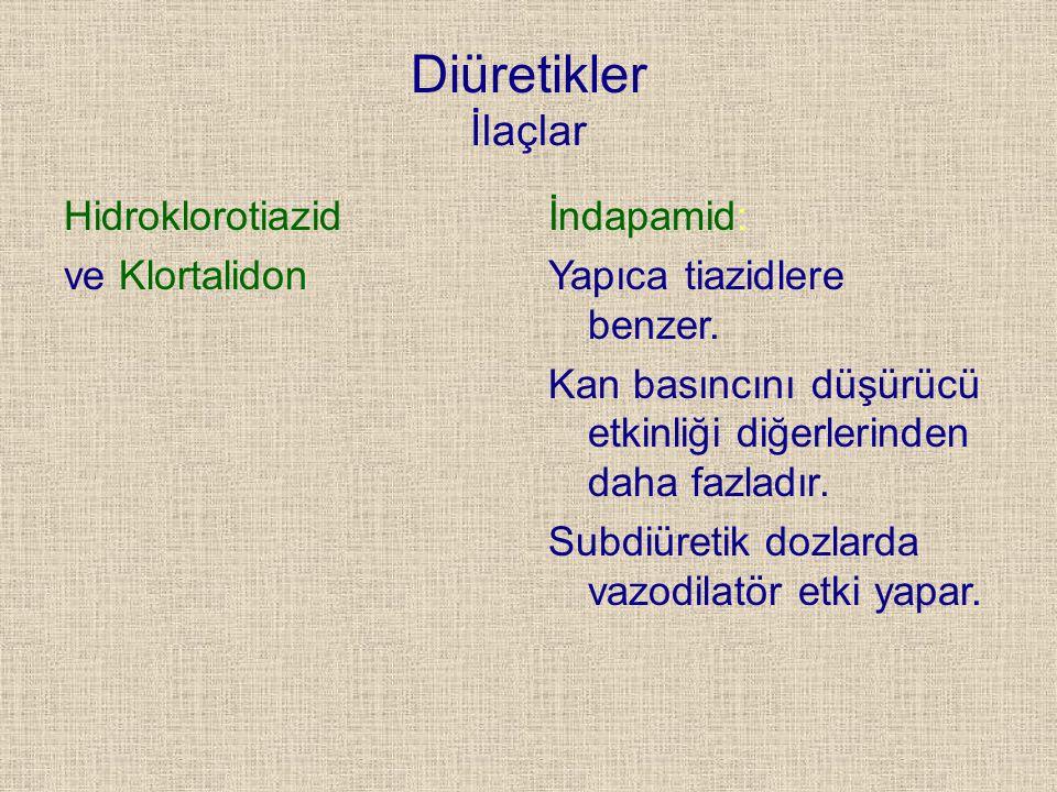 Diüretikler İlaçlar Hidroklorotiazid ve Klortalidon
