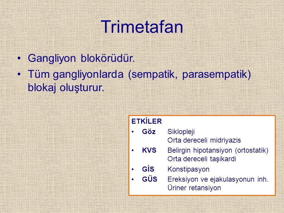 Trimetafan Gangliyon blokörüdür.