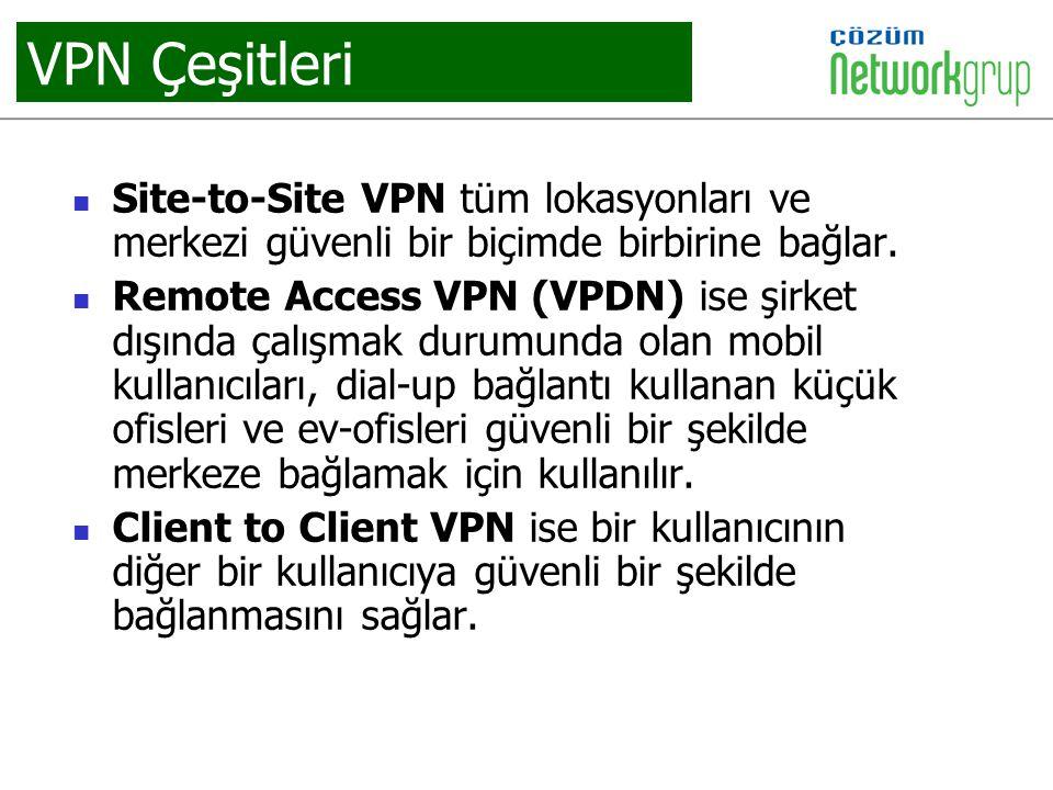 VPN Çeşitleri Site-to-Site VPN tüm lokasyonları ve merkezi güvenli bir biçimde birbirine bağlar.