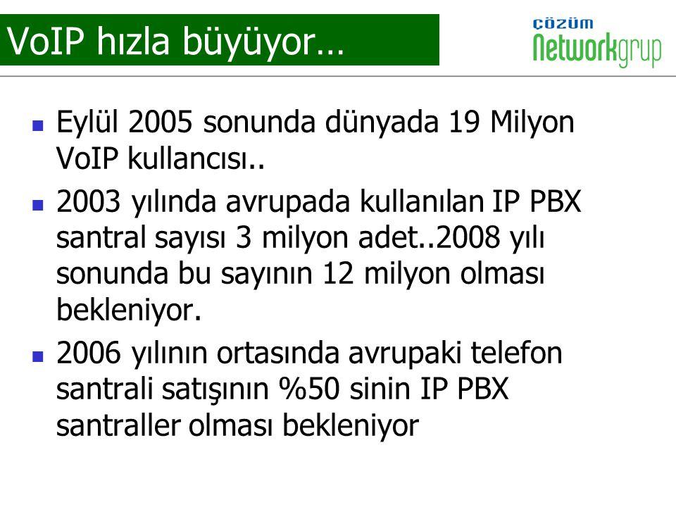 VoIP hızla büyüyor… Eylül 2005 sonunda dünyada 19 Milyon VoIP kullancısı..
