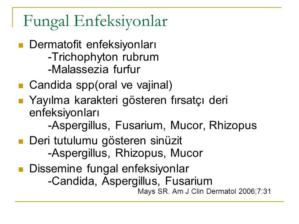 Fungal Enfeksiyonlar Dermatofit enfeksiyonları -Trichophyton rubrum -Malassezia furfur. Candida spp(oral ve vajinal)