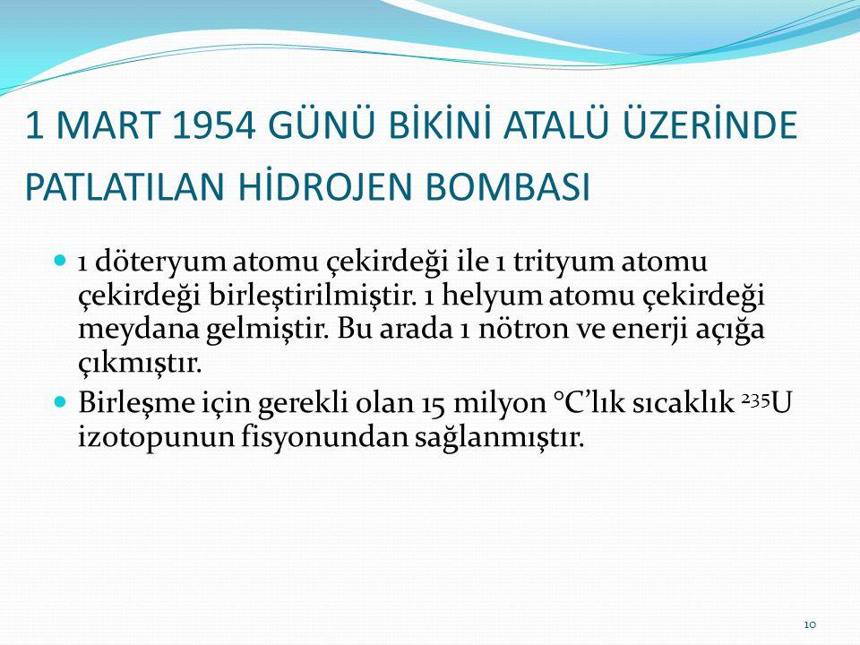 1 MART 1954 GÜNÜ BİKİNİ ATALÜ ÜZERİNDE PATLATILAN HİDROJEN BOMBASI