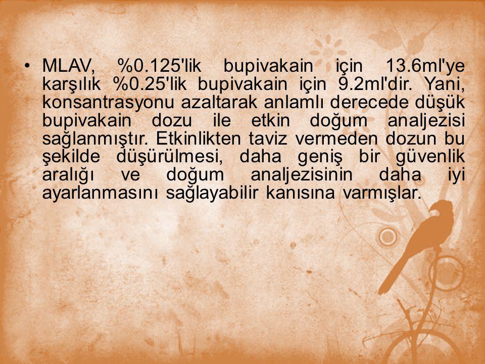 MLAV, %0. 125 lik bupivakain için 13. 6ml ye karşılık %0