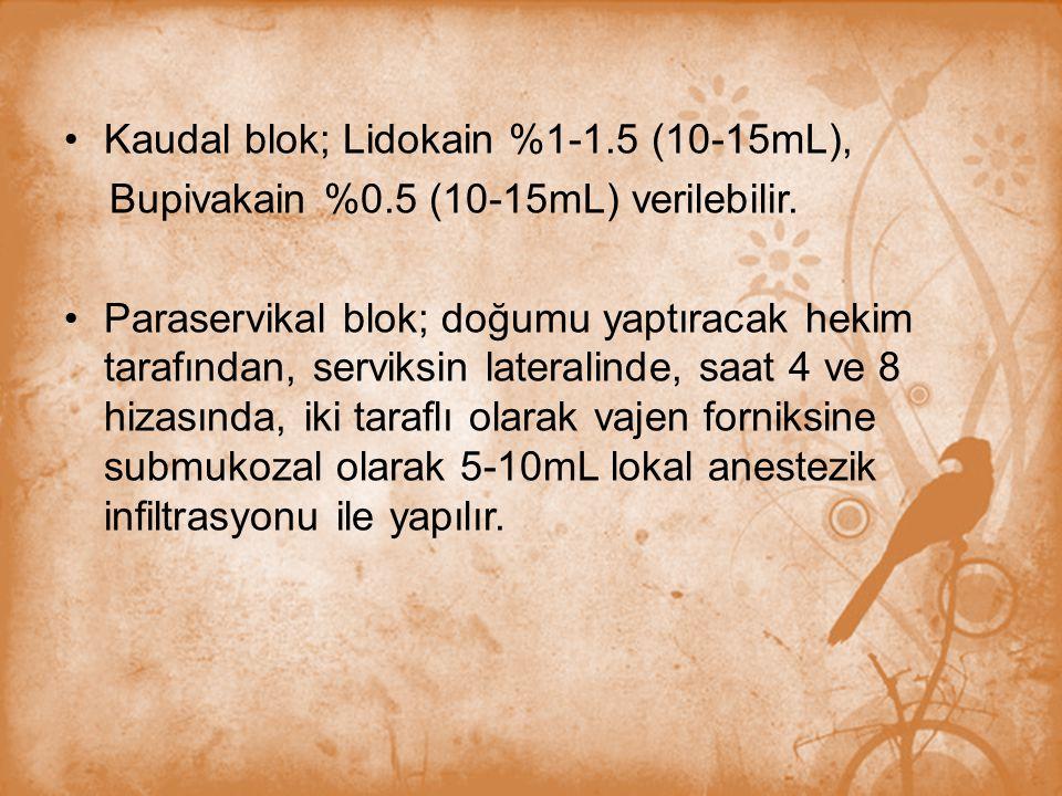 Kaudal blok; Lidokain %1-1.5 (10-15mL),