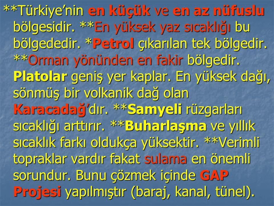 Türkiye'nin en küçük ve en az nüfuslu bölgesidir