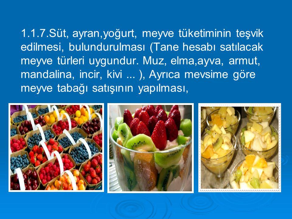 1.1.7.Süt, ayran,yoğurt, meyve tüketiminin teşvik edilmesi, bulundurulması (Tane hesabı satılacak meyve türleri uygundur.
