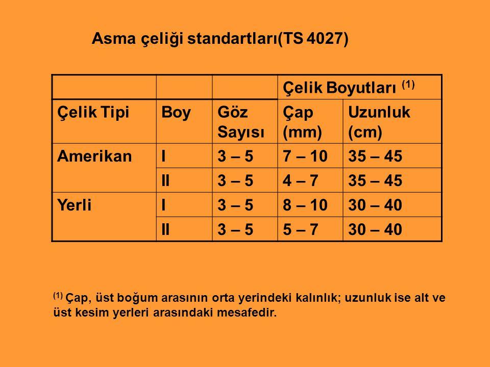 Asma çeliği standartları(TS 4027) Çelik Boyutları (1) Çelik Tipi Boy