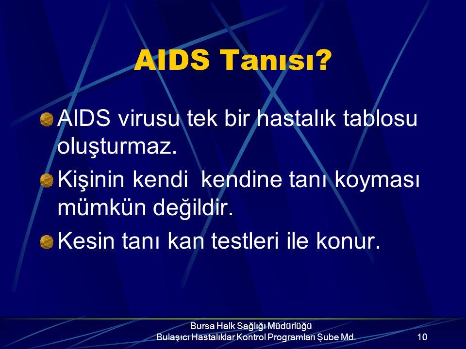 AIDS Tanısı AIDS virusu tek bir hastalık tablosu oluşturmaz.