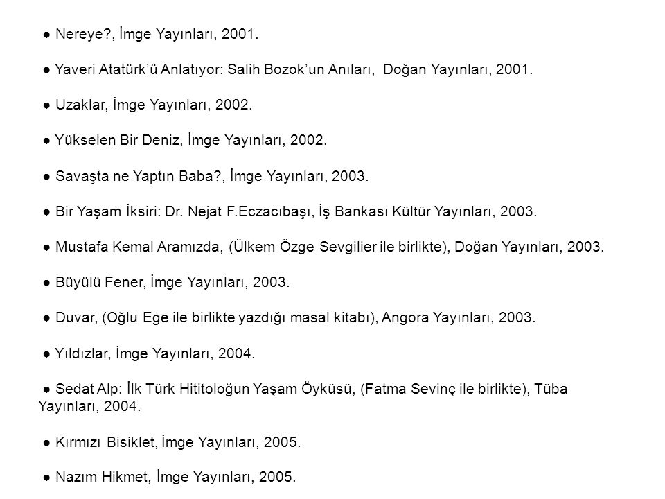 ● Nereye , İmge Yayınları, 2001.