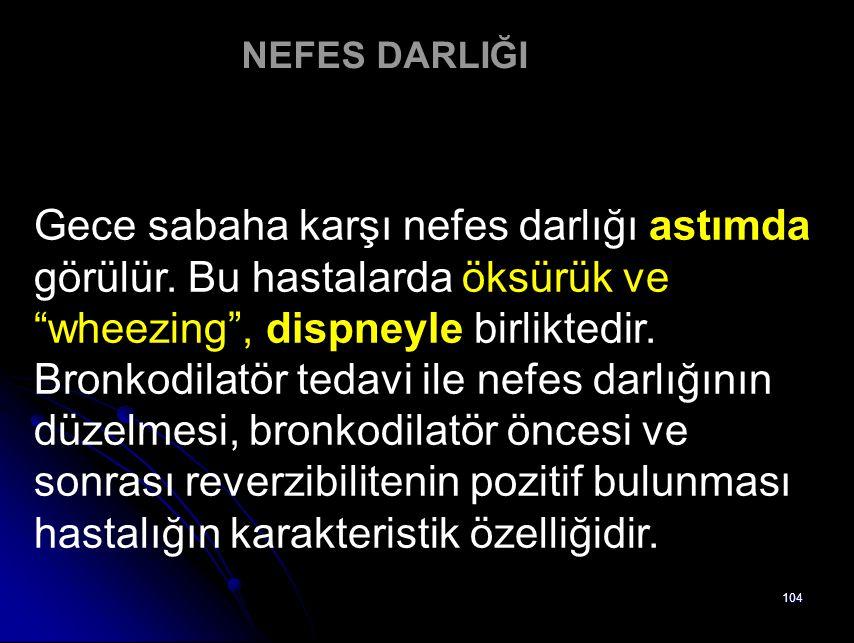 NEFES DARLIĞI Gece sabaha karşı nefes darlığı astımda görülür. Bu hastalarda öksürük ve wheezing , dispneyle birliktedir.