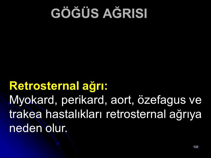 GÖĞÜS AĞRISI Retrosternal ağrı: