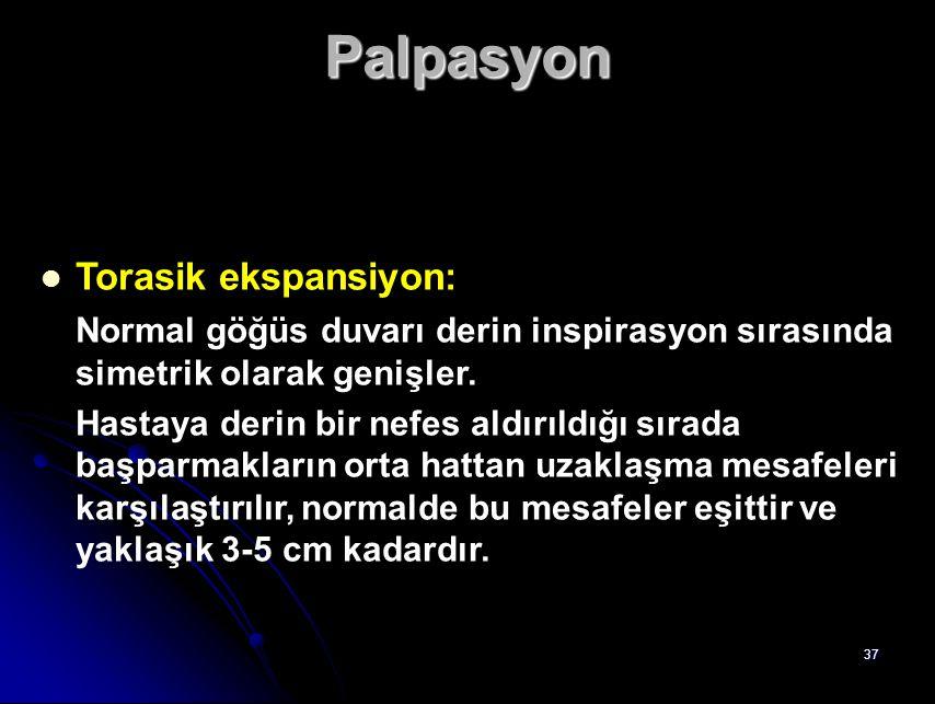 Palpasyon Torasik ekspansiyon: