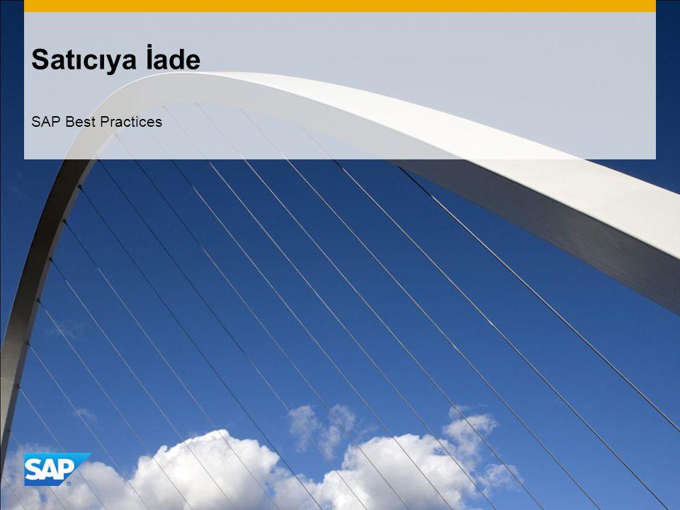 Satıcıya İade SAP Best Practices