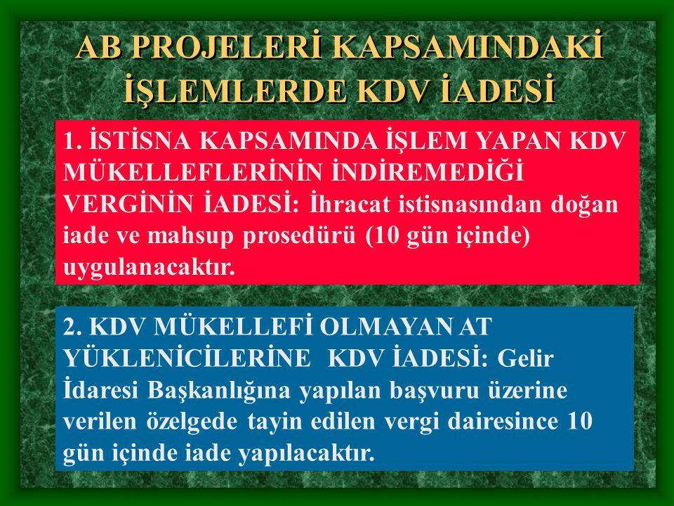 AB PROJELERİ KAPSAMINDAKİ İŞLEMLERDE KDV İADESİ