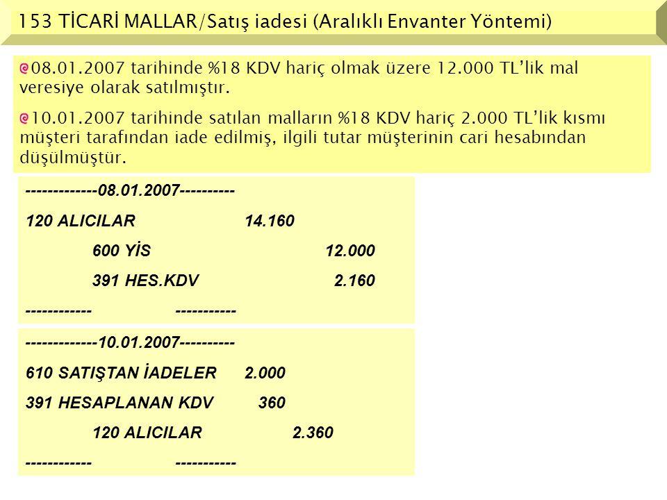 153 TİCARİ MALLAR/Satış iadesi (Aralıklı Envanter Yöntemi)