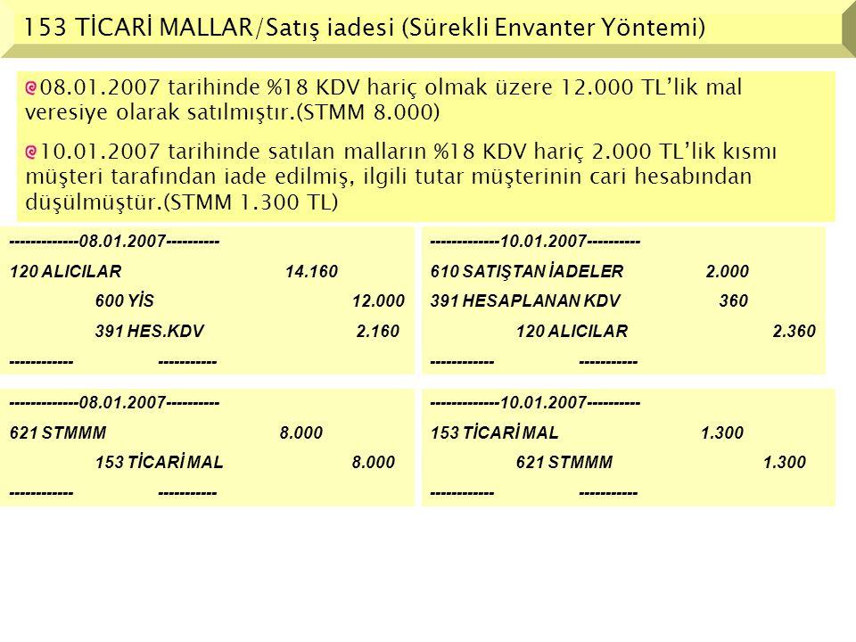 153 TİCARİ MALLAR/Satış iadesi (Sürekli Envanter Yöntemi)