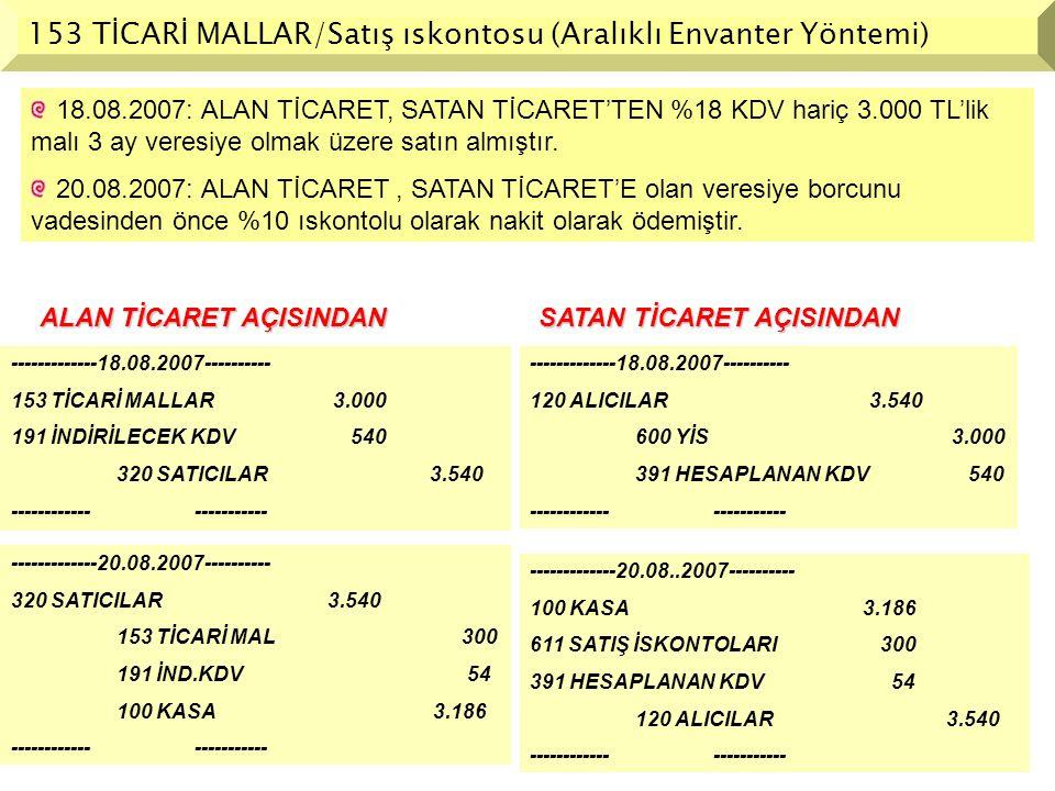 153 TİCARİ MALLAR/Satış ıskontosu (Aralıklı Envanter Yöntemi)