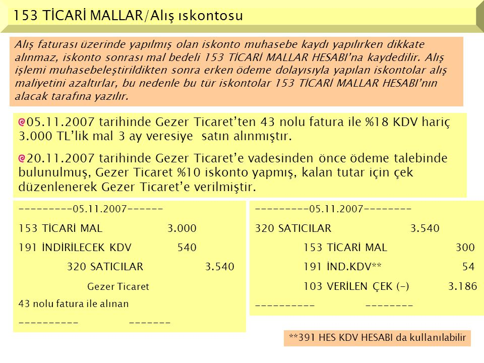 153 TİCARİ MALLAR/Alış ıskontosu