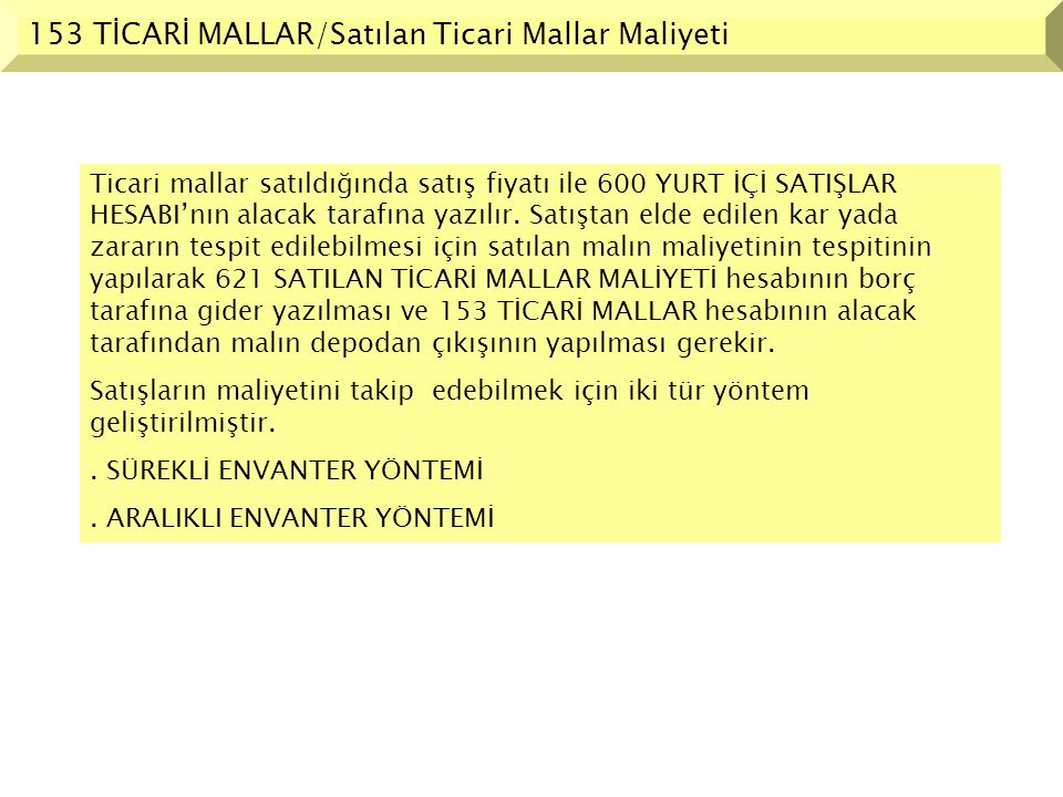 153 TİCARİ MALLAR/Satılan Ticari Mallar Maliyeti