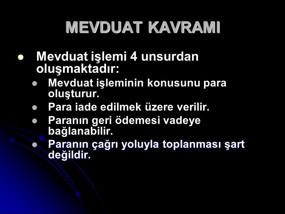 MEVDUAT KAVRAMI Mevduat işlemi 4 unsurdan oluşmaktadır: