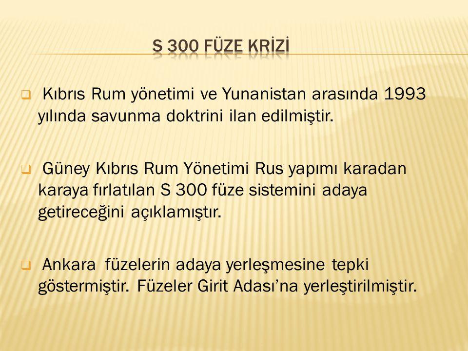 s 300 füze krİZİ Kıbrıs Rum yönetimi ve Yunanistan arasında 1993 yılında savunma doktrini ilan edilmiştir.