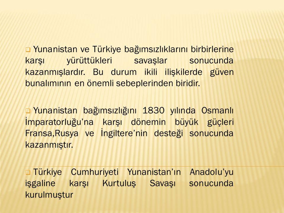 Yunanistan ve Türkiye bağımsızlıklarını birbirlerine karşı yürüttükleri savaşlar sonucunda kazanmışlardır. Bu durum ikili ilişkilerde güven bunalımının en önemli sebeplerinden biridir.