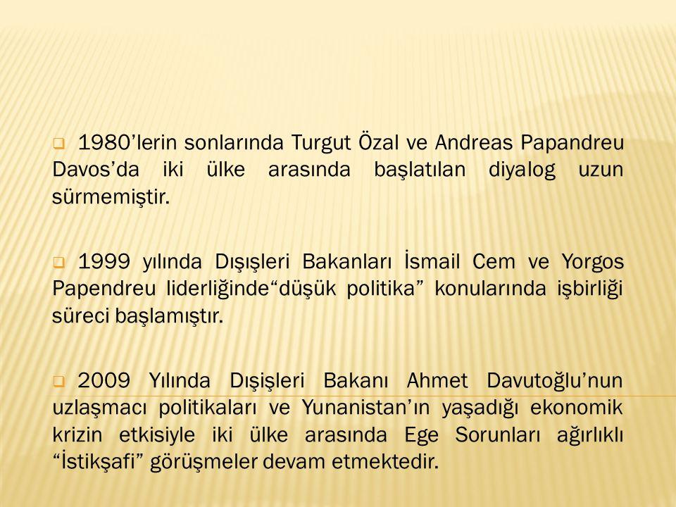 1980'lerin sonlarında Turgut Özal ve Andreas Papandreu Davos'da iki ülke arasında başlatılan diyalog uzun sürmemiştir.