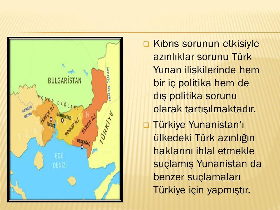 Kıbrıs sorunun etkisiyle azınlıklar sorunu Türk Yunan ilişkilerinde hem bir iç politika hem de dış politika sorunu olarak tartışılmaktadır.